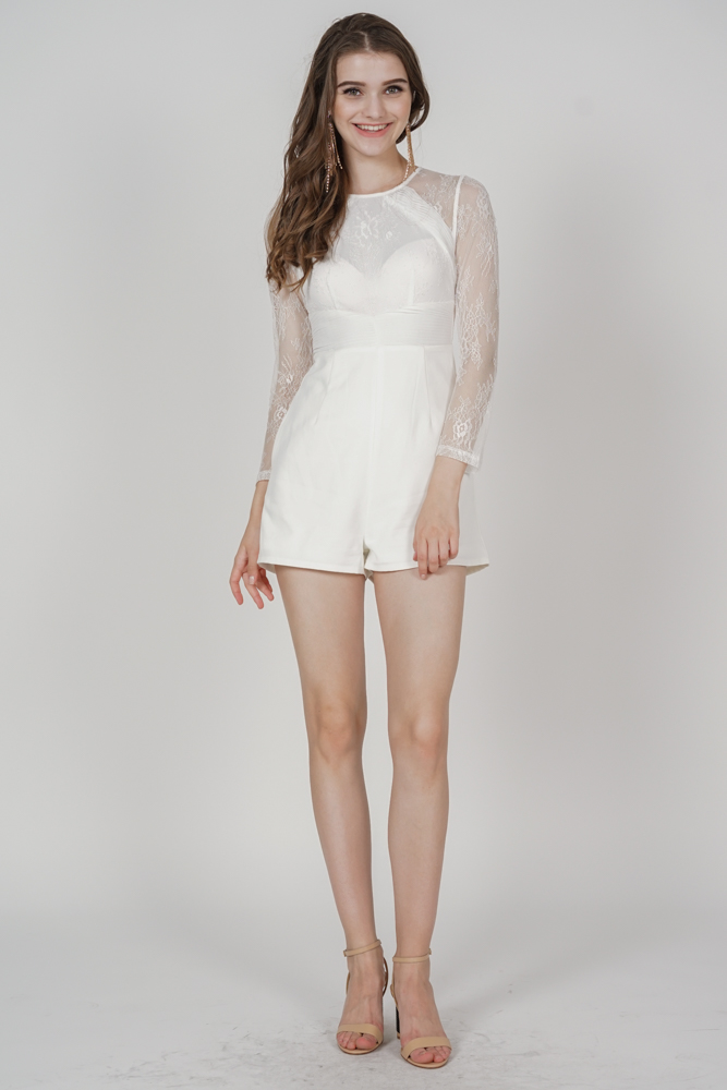 Jessie Lace Romper in White - Arriving Soon