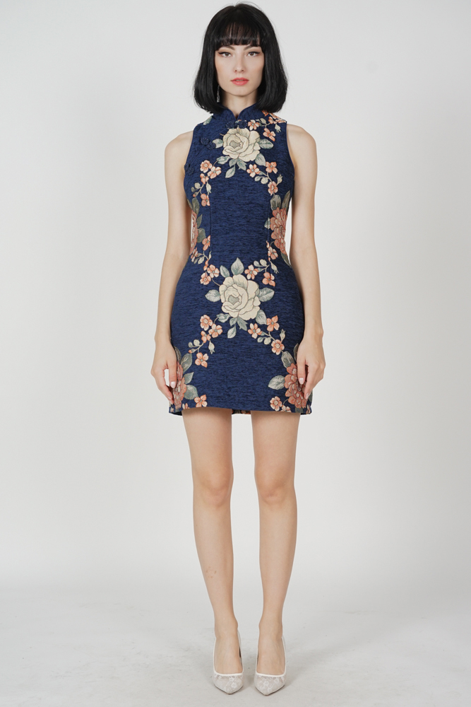 Kara Cheongsam Dress in Midnight Floral