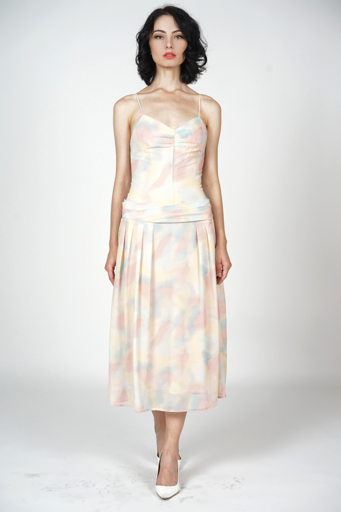 Beckie Ruched Dress in Multi Pastel - Arriving Soon