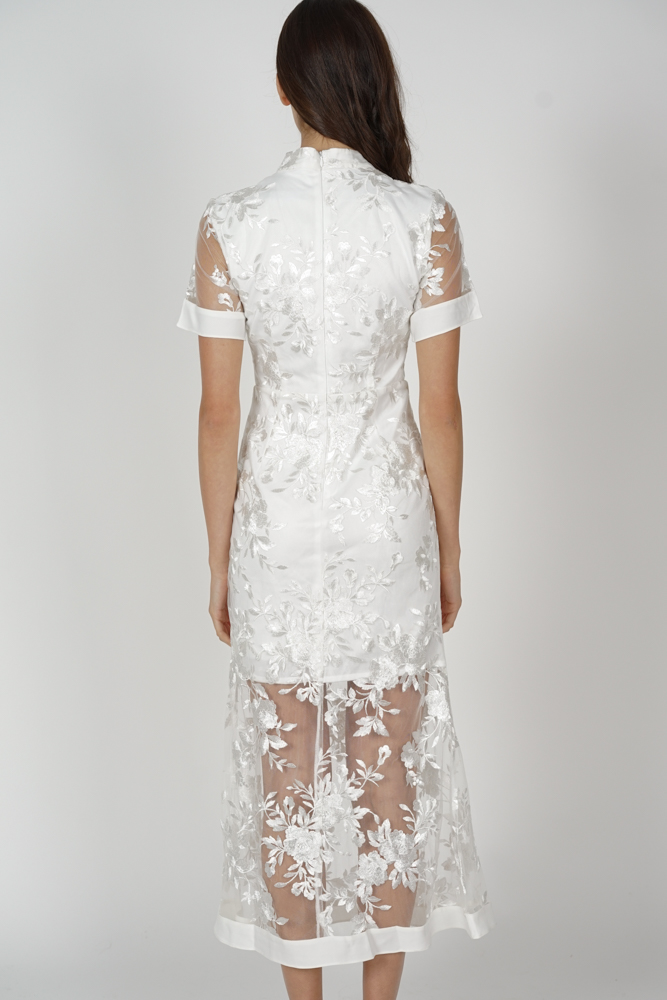 Varla Sheer Dress in White