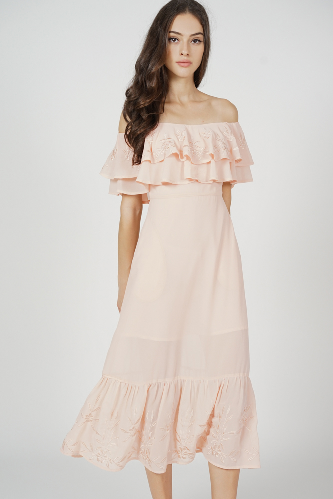 Jadel Flounce Dress in Pink - Arriving Soon