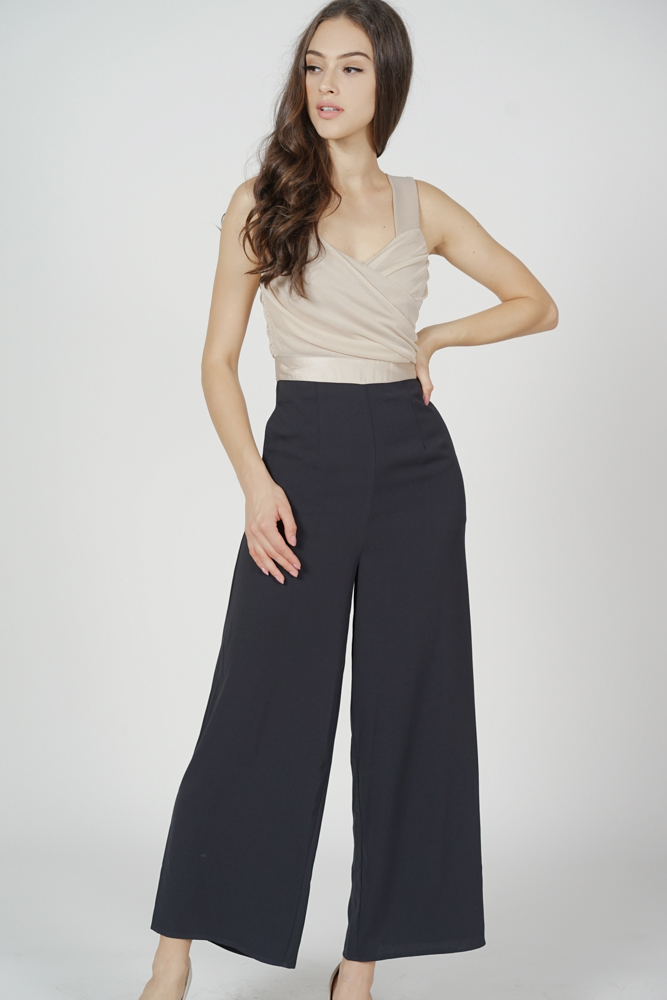 Teagan Ruched Jumpsuit in Nude Black - Arriving Soon