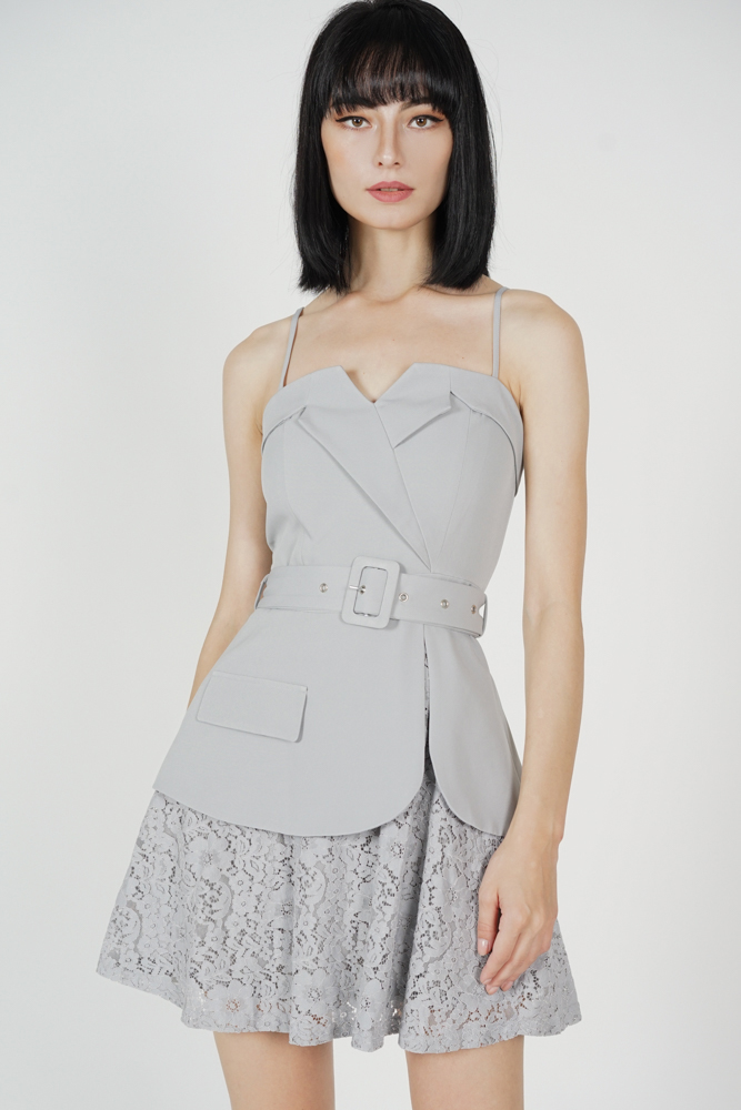 Kayson Buckled Dress in Dusty Blue