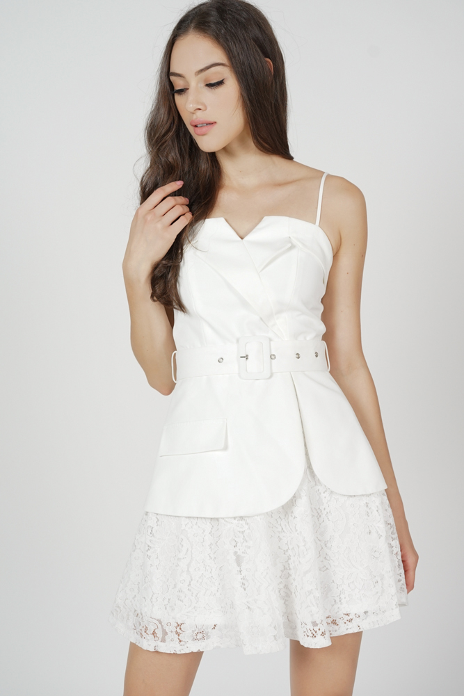 Kayson Buckled Dress in White - Arriving Soon