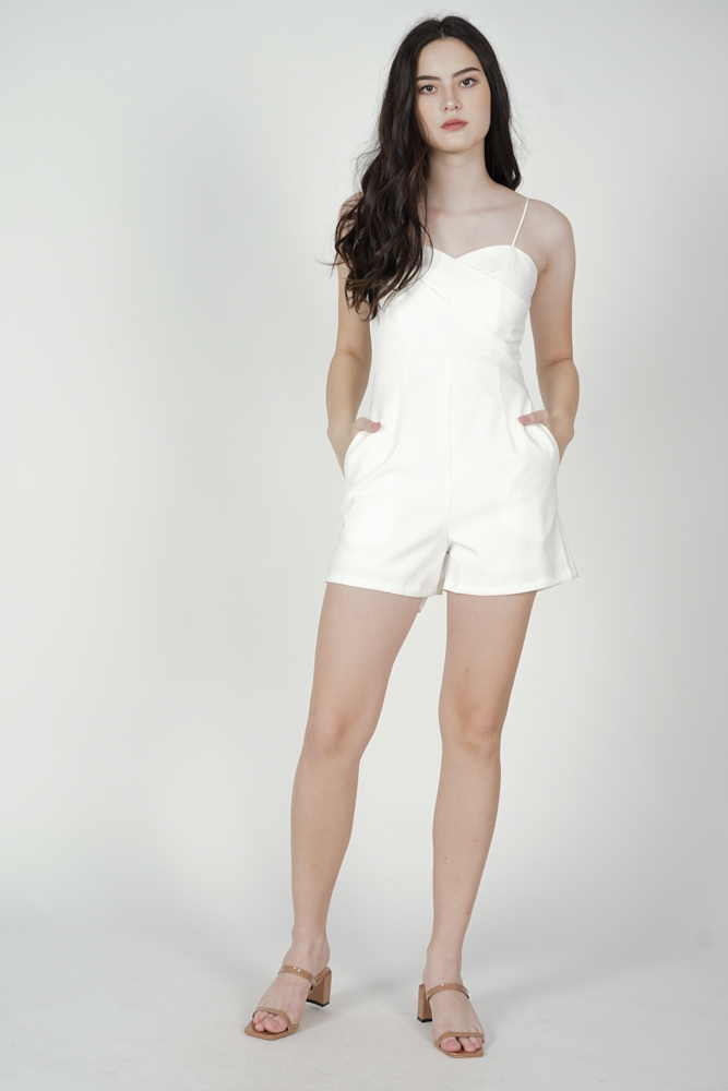 Honah Cami Romper in White - Arriving Soon