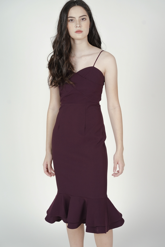 Stella Ruffled-Hem Dress in Burgundy - Arriving Soon