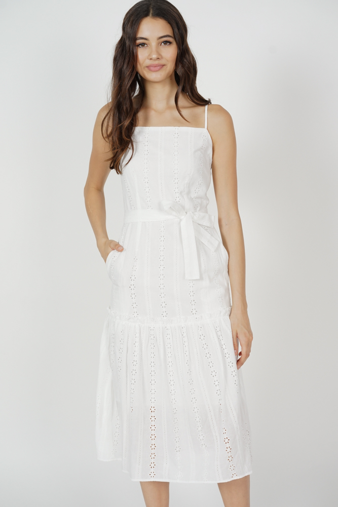 Kenny Eyelet Dress in White - Arriving Soon