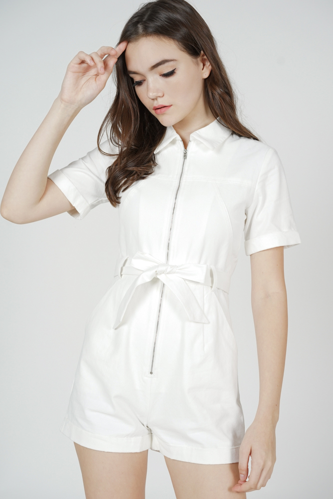 Esme Zipper Romper in White - Arriving Soon