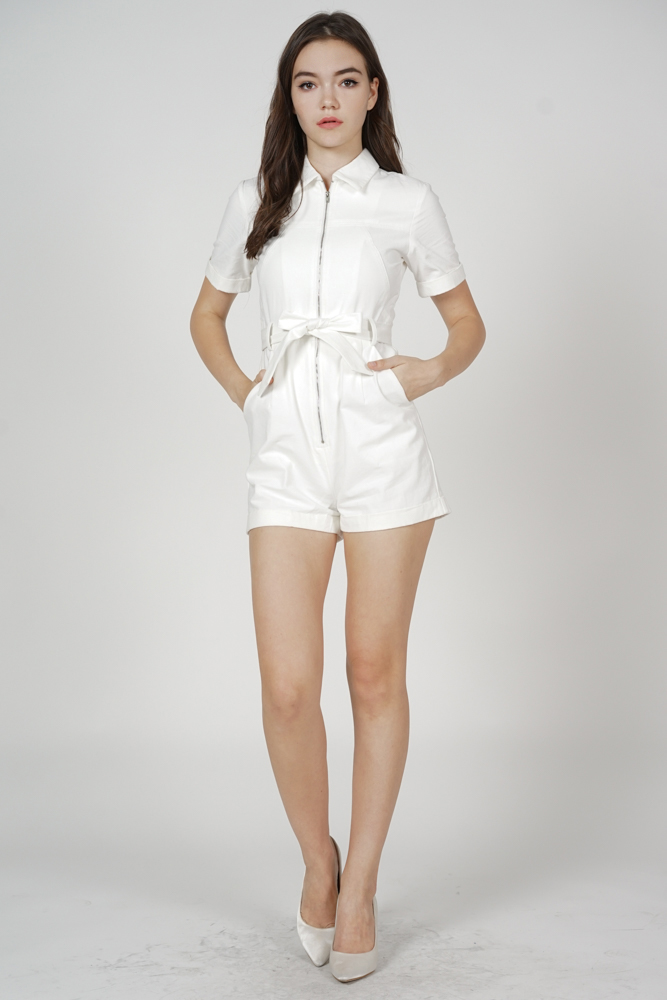 Esme Zipper Romper in White