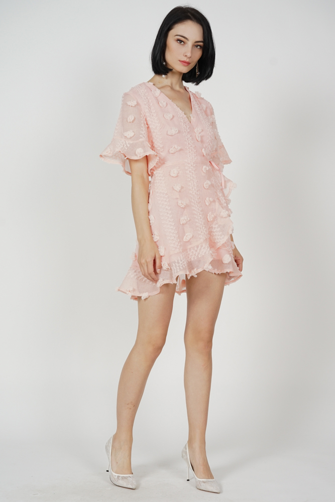 Kiko Flutter Ruffled Dress in Pink