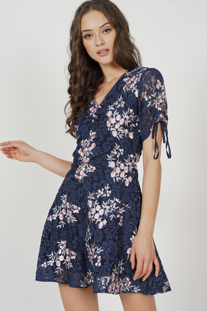 Chitra Gathered Front Lace Dress in Midnight