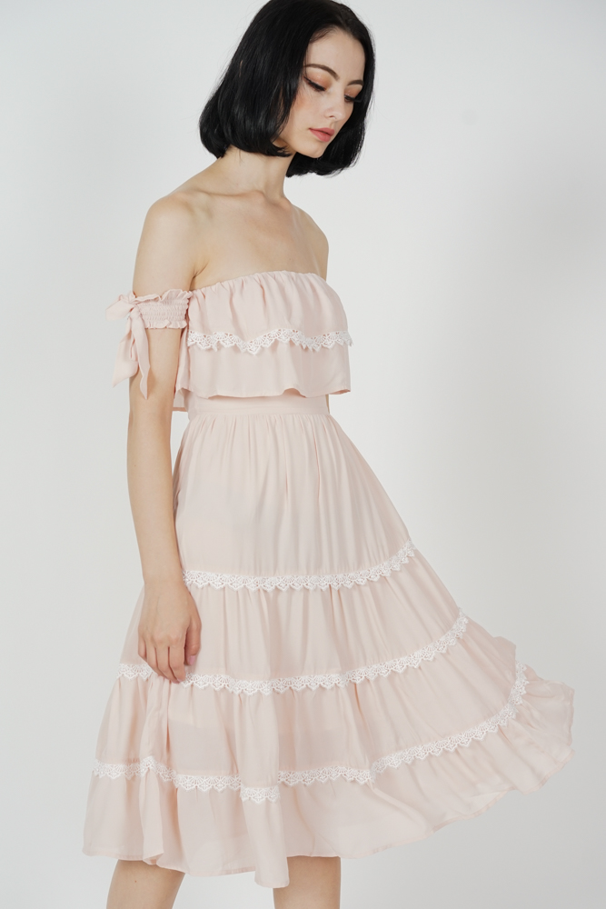 Ellow Tiered Dress in Blush