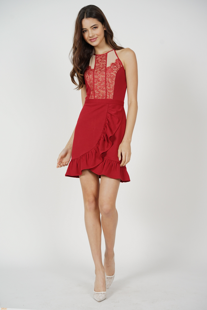 Jayni Lace-Trimmed Dress in Maroon