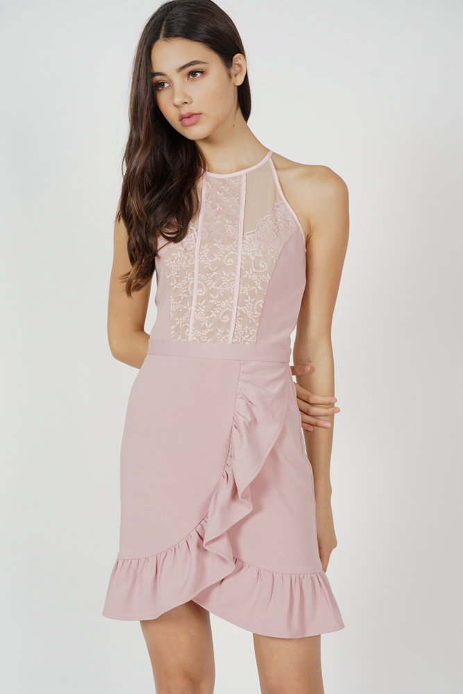 Jayni Lace-Trimmed Dress in Pink