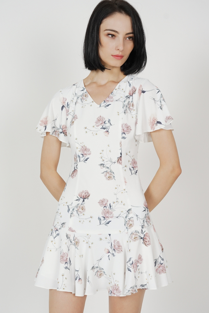 Kesya Ruffled-Hem Dress in White Porcelain Bloom
