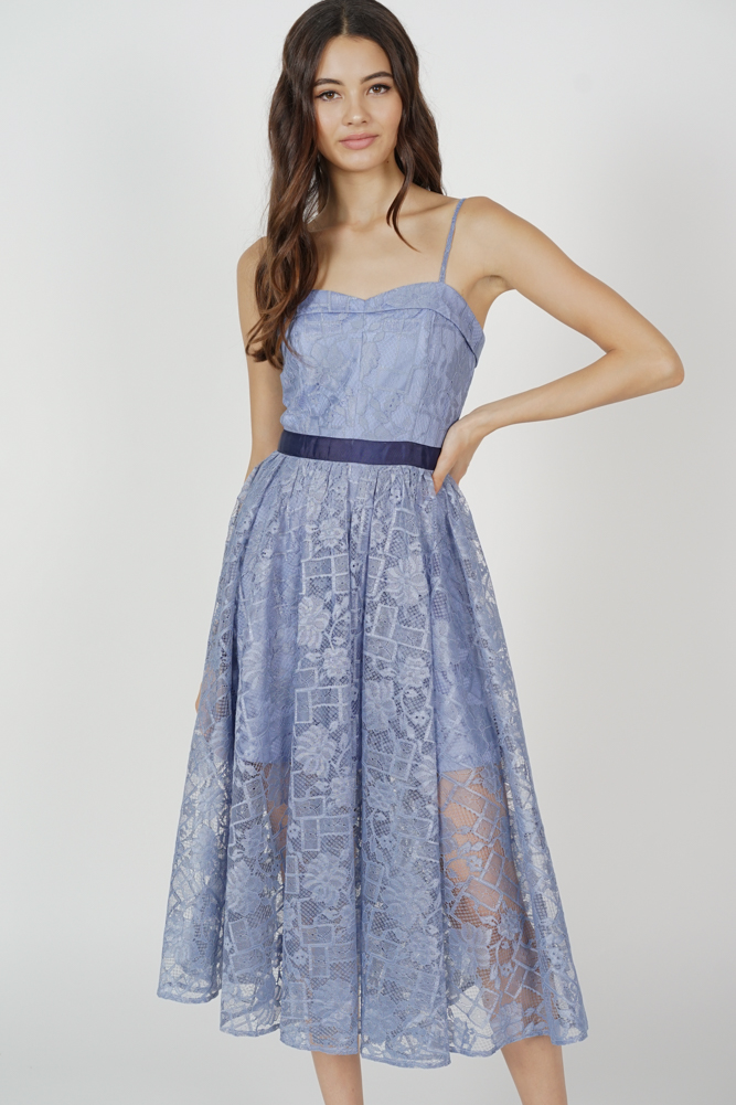 Bruna Cami Lace Dress in Blue - Arriving Soon