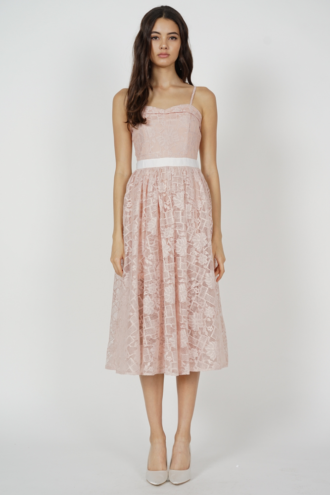 Bruna Cami Lace Dress in Pink