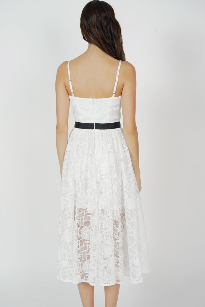 Bruna Cami Lace Dress in White