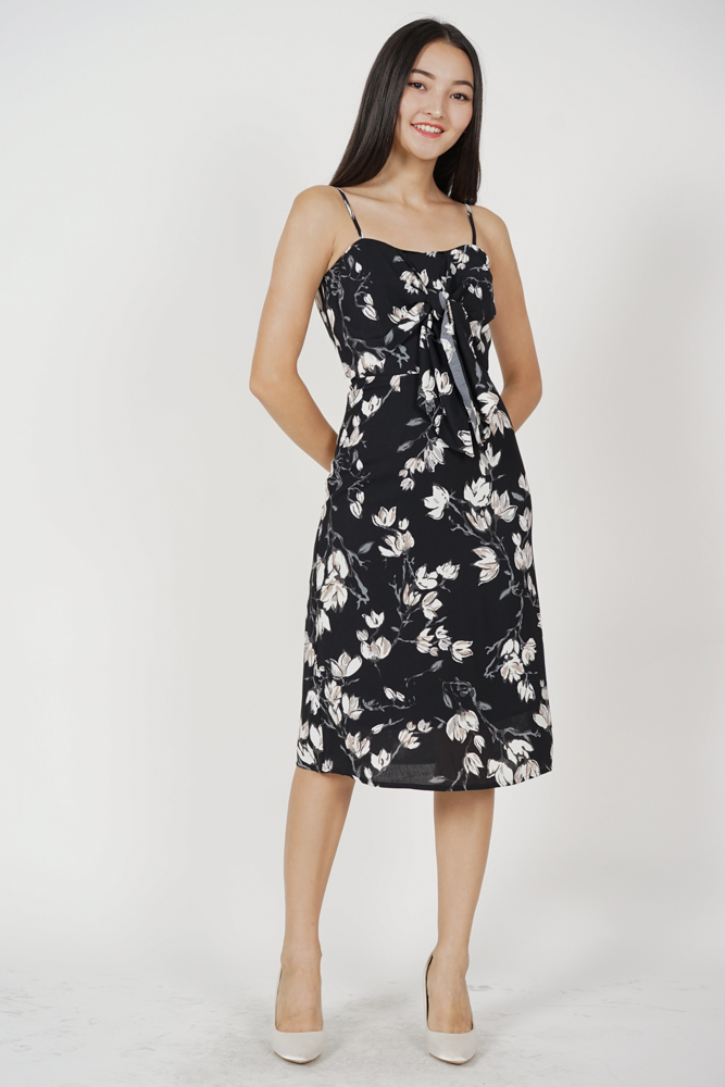 Zerla Front Tie Dress in Black Floral - Arriving Soon