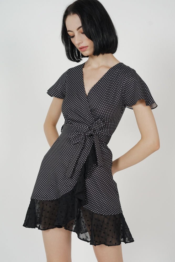 Shelby Flutter Ruffled Dress in Black Polka Dots
