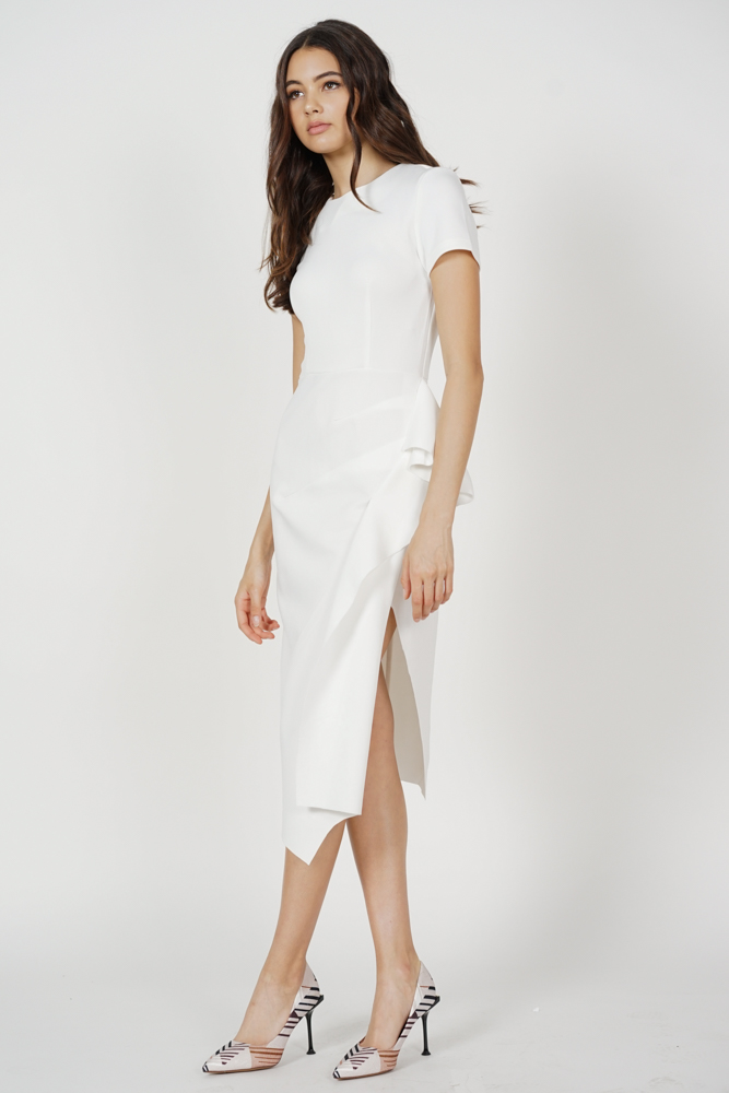 Erin Midi Ruffled Dress in White