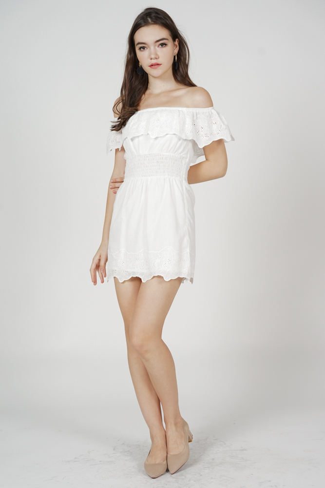 Valyn Eyelet Dress in White - Arriving Soon