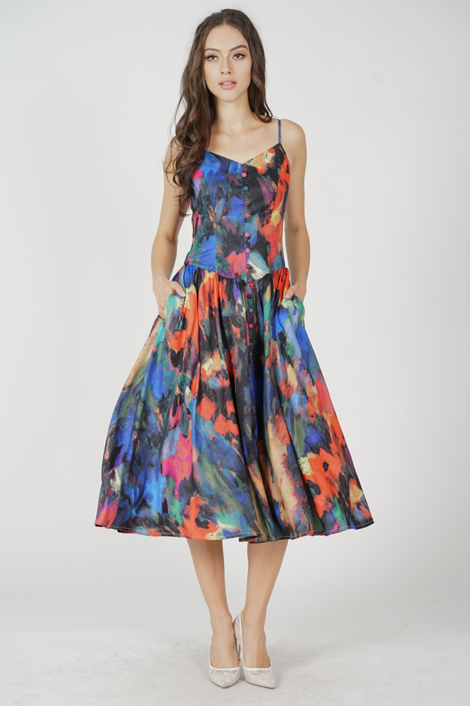 Jorden Gathered Dress in Multi Abstract
