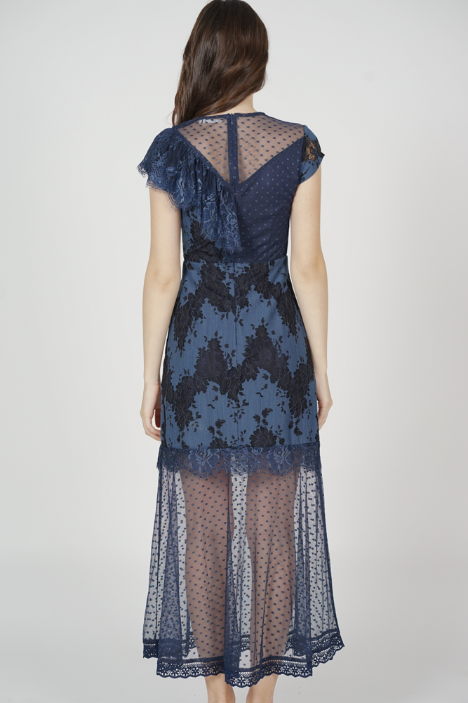 Lensie Ruffled Lace Dress in Midnight - Arriving Soon