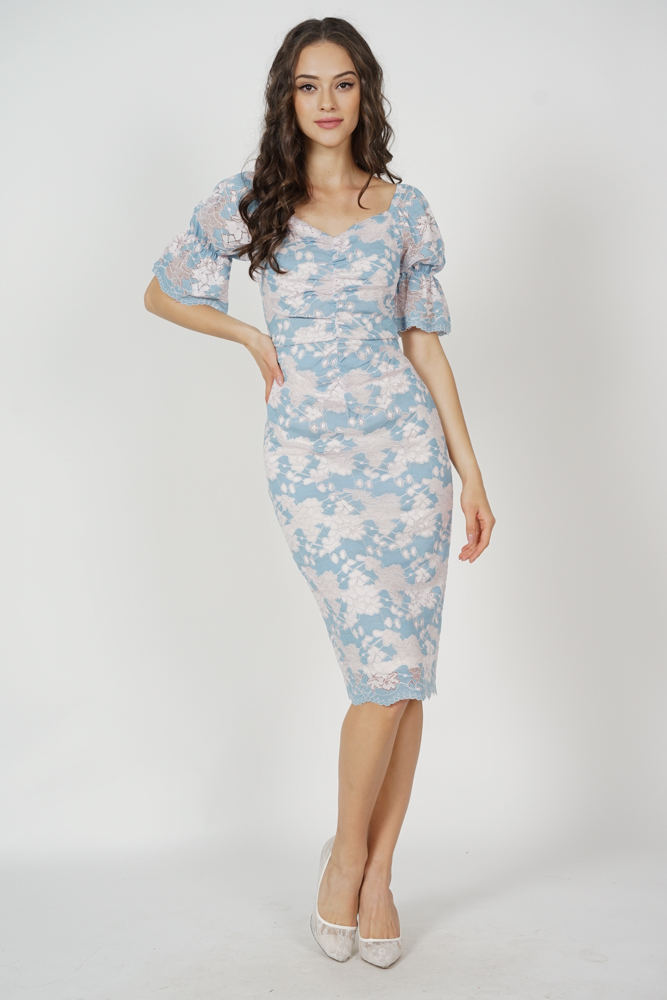 Khrystel Gathered Lace Dress in Blue Pink - Arriving Soon