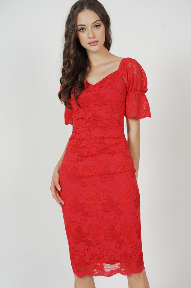 Khrystel Gathered Lace Dress in Red