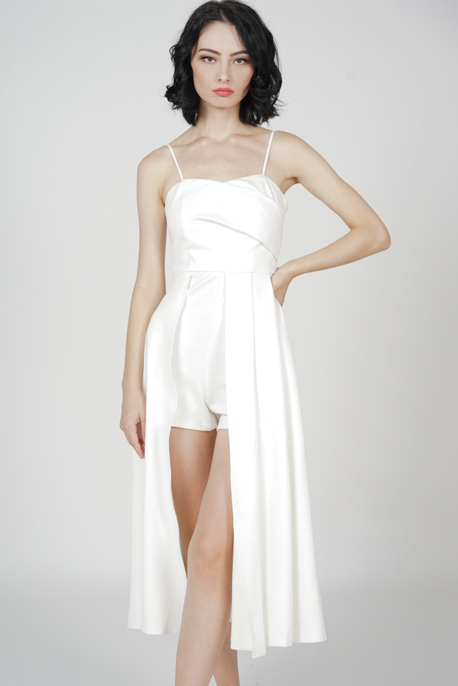 Seina Overlay Romper in White - Arriving Soon