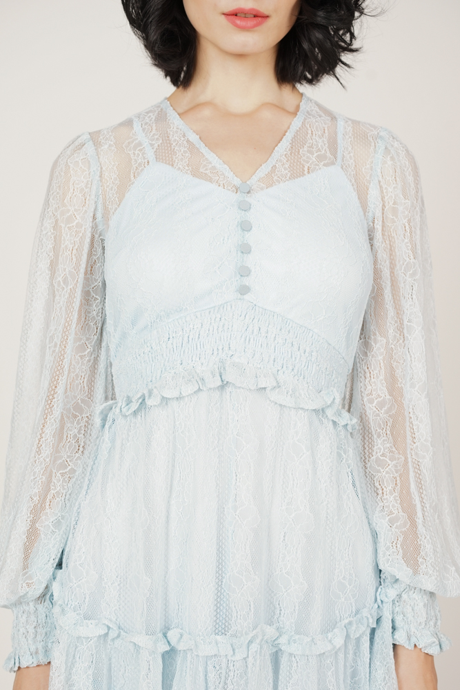 Elgen Lace Romper in Ash Blue - Arriving Soon