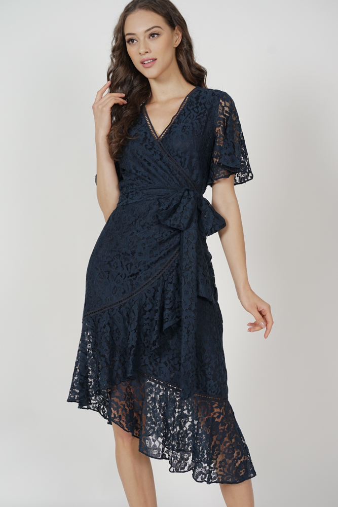 Reika Tie Wrapped Dress in Midnight - Arriving Soon