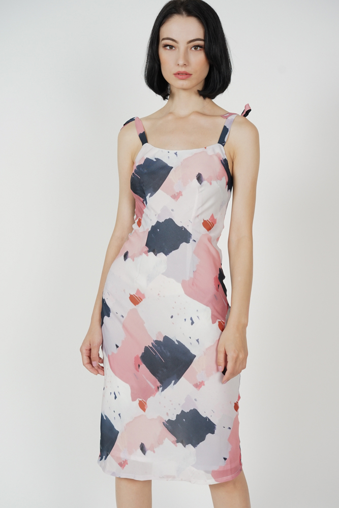 Safro Midi Dress in Pink Abstract