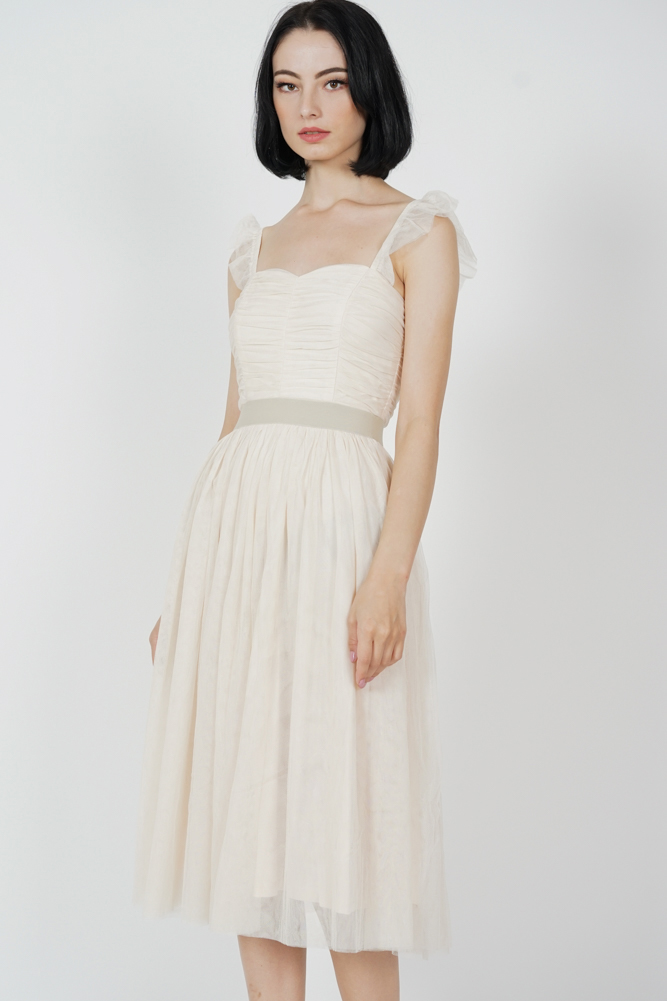 Lyra Gathered Tulle Dress in Cream - Arriving Soon