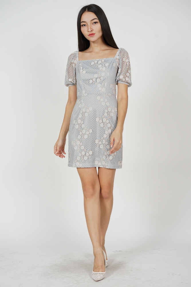 Moeza Lace Dress in Ash Blue