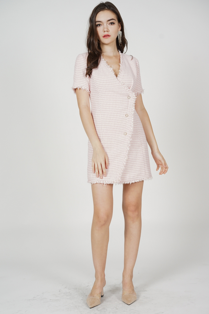 Estella Tweed Dress in Pink
