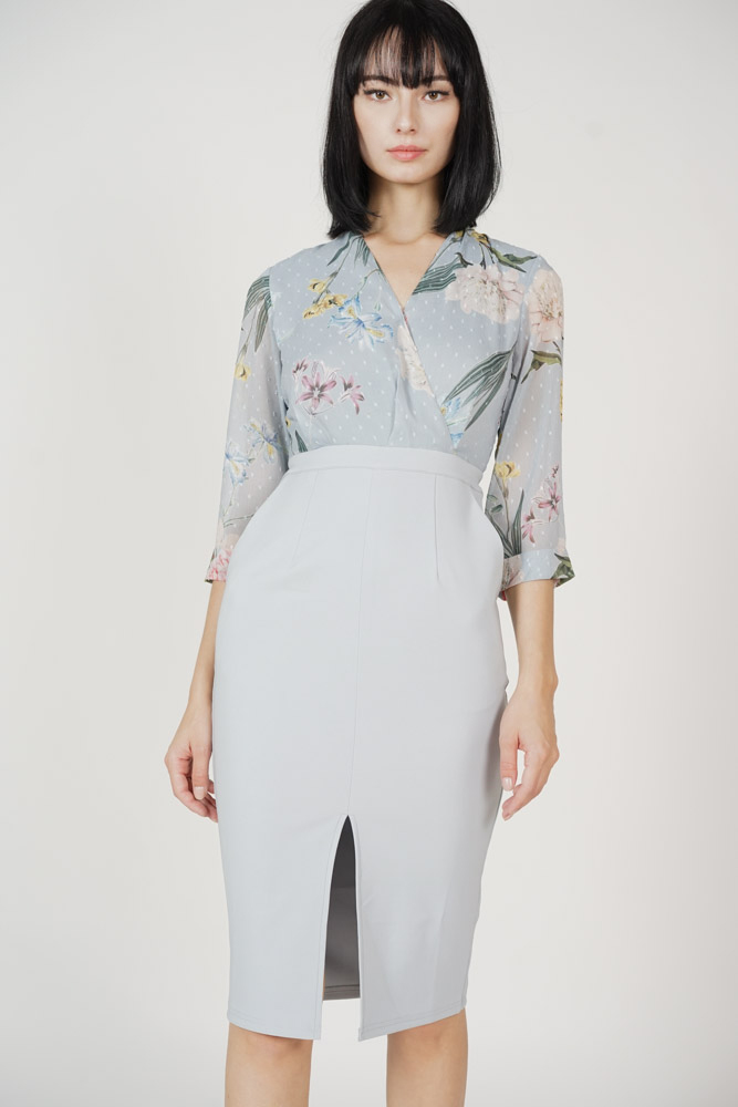 Weston Midi Dress in Ash Blue Floral - Arriving Soon