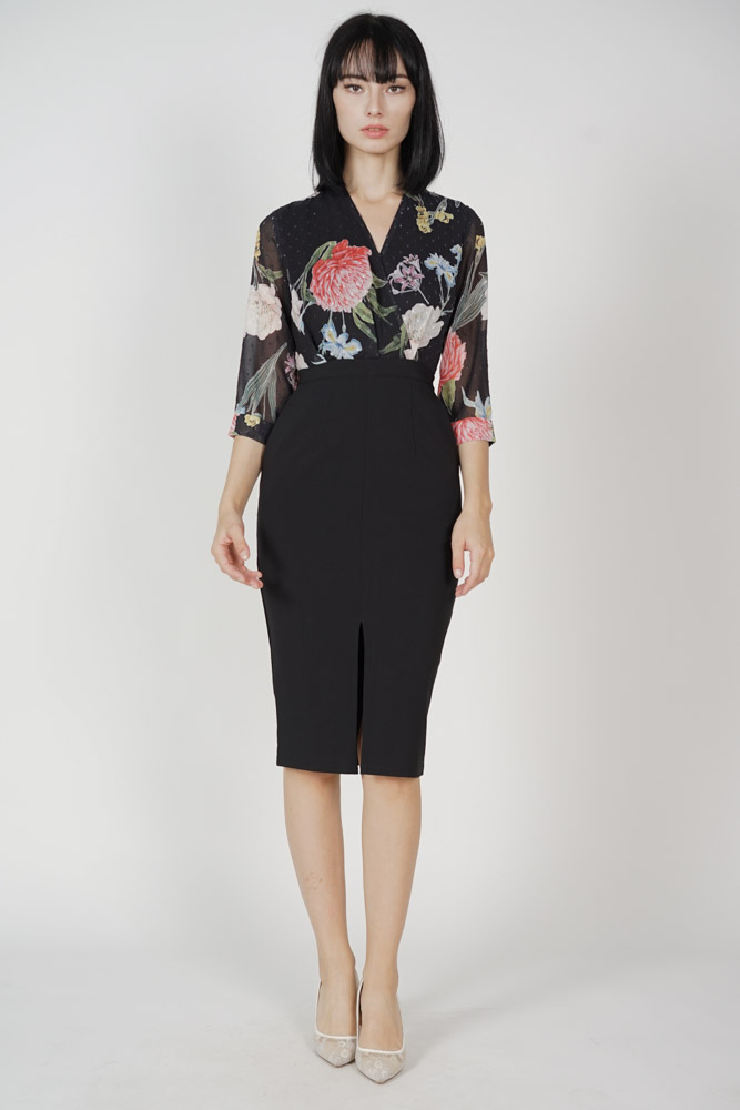 Weston Midi Dress in Black Floral - Arriving Soon