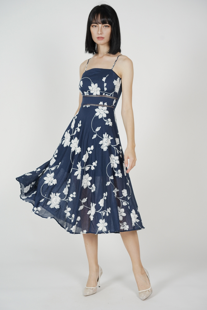 Beatrice Flared Dress in Midnight Floral