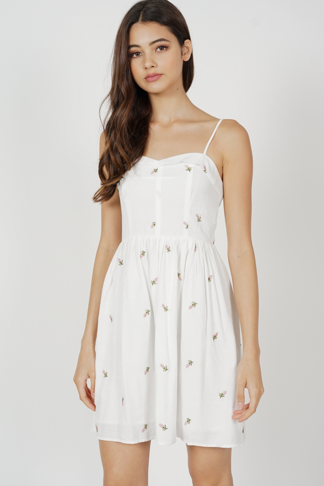 Azera Flared Dress in White Floral