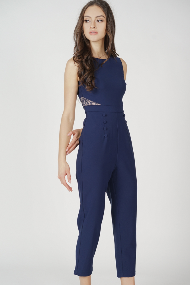 Marlow Lace-Trimmed Jumpsuit in Midnight - Arriving Soon
