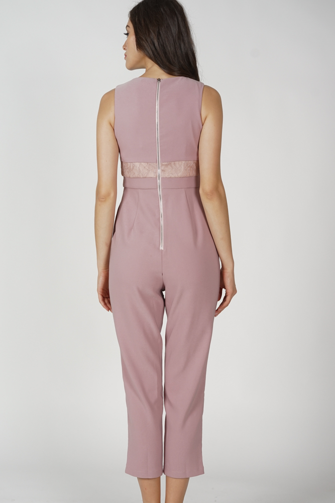 Marlow Lace-Trimmed Jumpsuit in Pink