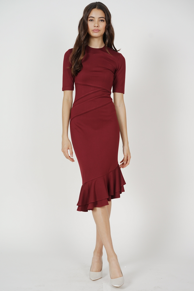 Doari Ruffled-Hem Dress in Oxblood