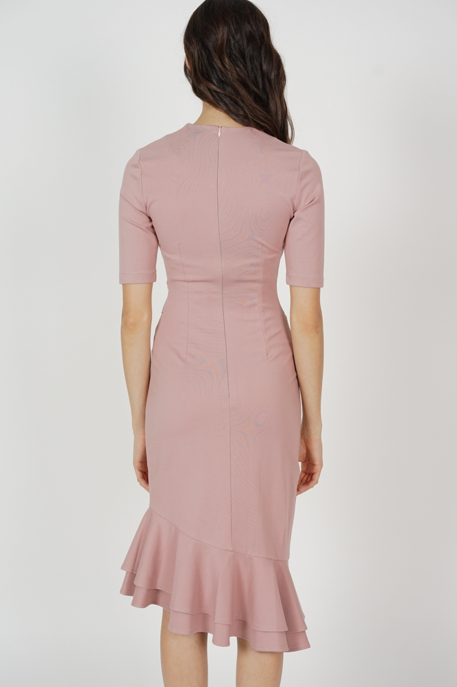 Doari Ruffled-Hem Dress in Pink