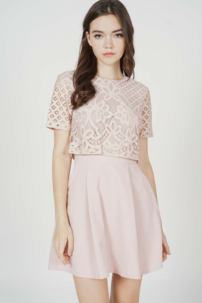 Eliza Overlay Lace Dress in Pink - Arriving Soon