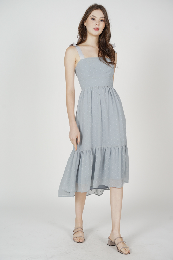Jugrie Ruffled-Hem Dress in Ash Blue - Arriving Soon