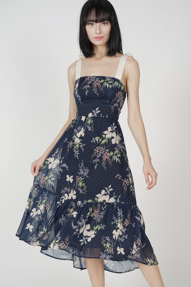 Delry Ruffled-Hem Dress in Midnight Floral