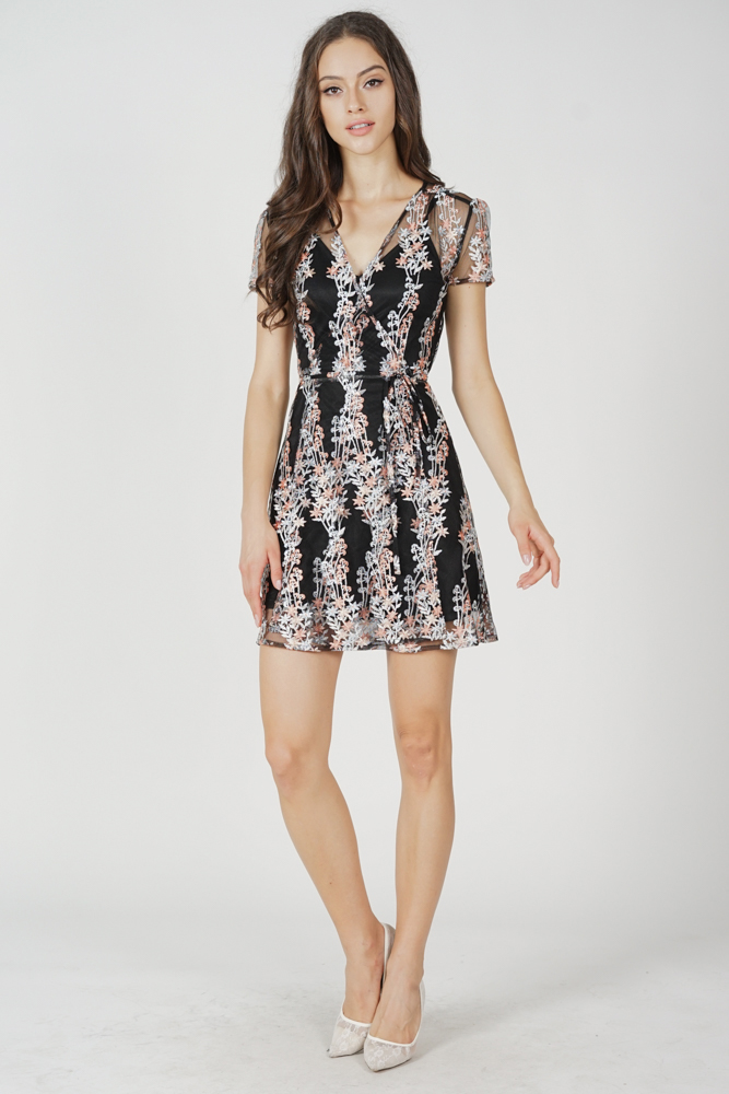 Koga Tie Wrapped Dress in Black Floral