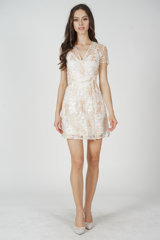 Koga Tie Wrapped Dress in Cream Floral
